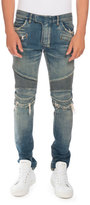 Balmain Distressed Denim Moto Jeans, Blue