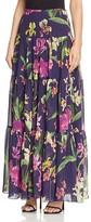 Karen Millen Atelier Orchid Print Tiered Maxi Skirt