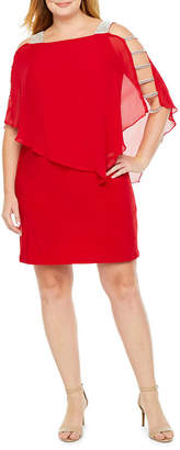 MSK 3/4 Sleeve Embellished Cape Shift Dress - Plus