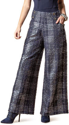 Eva Franco Hepburn Wide-Leg Textured Plaid Pants