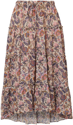See by Chloe Gathered Floral-print Crepe Midi Skirt