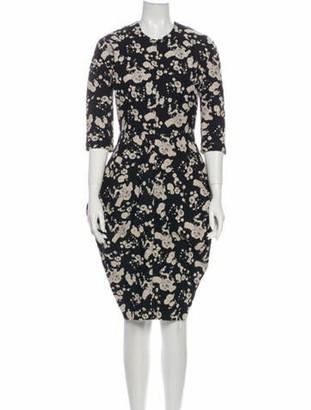 Zero Maria Cornejo Floral Print Knee-Length Dress Black