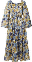 Lisa Marie Fernandez Floral-print Cotton-voile Dress - Blue