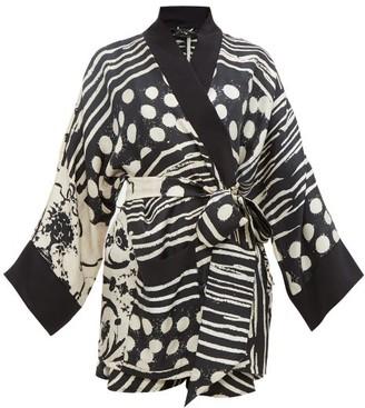 Raey X Lucy Jones Abstract-print Silk Twill Robe - Womens - Black Multi