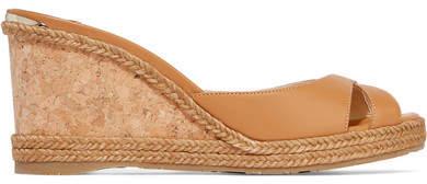Jimmy Choo Almer 80 Leather And Raffia Wedge Sandals - Tan