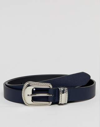 Asos Design DESIGN faux leather skinny belt in navy with western buckle
