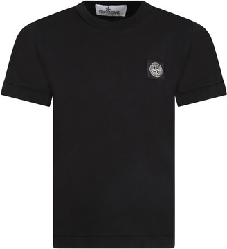 Stone Island Junior Black T-shirt Fo Boy With Iconic Compass