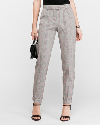 Express High Waisted Plaid Cuffed Ankle Pant