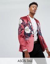 Asos Tall Super Skinny Blazer In Burgundy Velvet With Floral Print