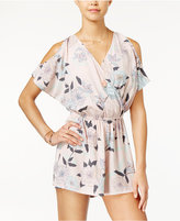 One Clothing Juniors' Surplice Cold-Shoulder Romper