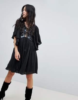 Free People Moonglow Embellished Mini Dress-Black