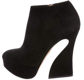 Charlotte Olympia Suede Platform Booties