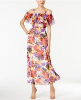 Nine West Floral-Print Cold-Shoulder Maxi Dress