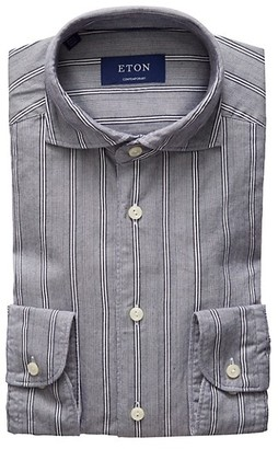 Eton Soft Casual Contemporary-Fit Striped Cotton-Blend Shirt