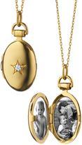 "Monica Rich Kosann 18k Gold Petite Oval Locket Necklace with Diamond Star, 17""L"