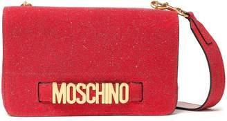 Moschino Embellished Glittered Leather Shoulder Bag