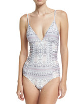 L-Space L Space Ruched-Sides Printed One-Piece Swimsuit, Purple Pattern