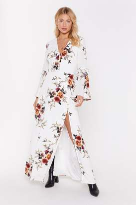 Nasty Gal Womens Take the Flower Back Floral Maxi Dress - white - 6