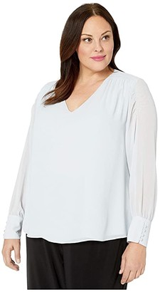 Vince Camuto Plus Size Long Sleeve Smocked Sleeve Shoulder V-Neck Chiffon Blouse (Silverstone) Women's Clothing