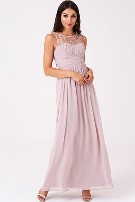 Little Mistress Bridesmaid Grace Mink Embellished Neck Maxi Dress