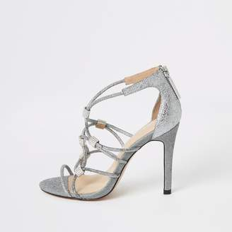 River Island Womens Silver diamante cage heeled sandals