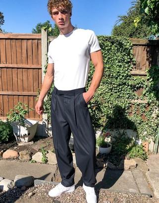 ASOS DESIGN high waisted slim smart trouser in navy