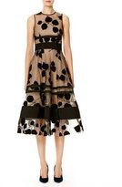Carolina Herrera Sleeveless Illusion Vine Midi Dress, Black