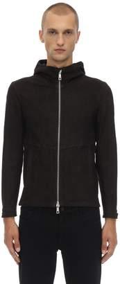 Giorgio Brato Hooded Stretch Leather Jacket