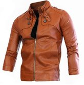 HZCX FASHION Men Spring Fall Stand Collar Suede PU Leather Coat Outerwear Jacket