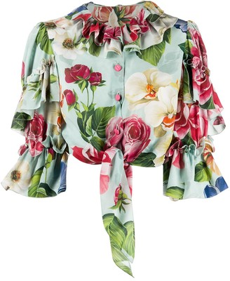 Dolce & Gabbana Floral-Print Cropped Shirt