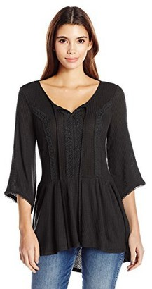 One World ONEWORLD Women's Petite Size Bell Sleeve Waffle Knit Tunic Top with Lace Trim