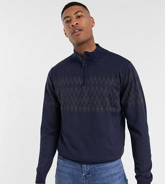 French Connection Tall fairisle half zip sweater