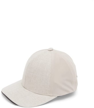 Sease - Contrast-panel Linen Baseball Cap - Mens - Ivory