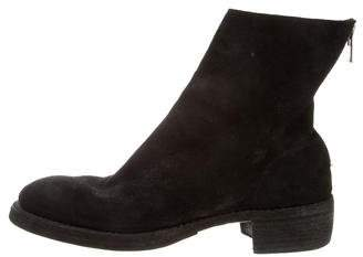 Guidi Back-Zip Distressed Suede Ankle Boots