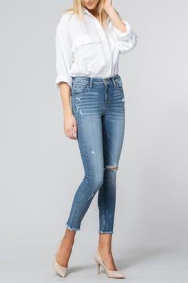 Flying Monkey Laguna Mid Rise Fray Hem Crop Skinny Jeans
