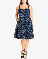 City Chic Trendy Plus Size Button-Front Fit & Flare Dress