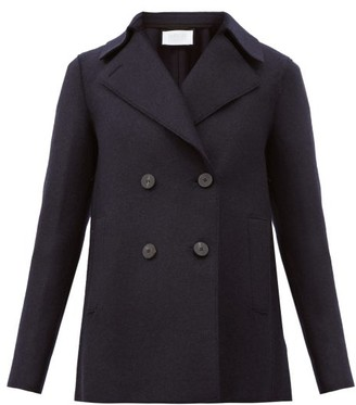 Harris Wharf London Double-breasted Wool Pea Coat - Navy