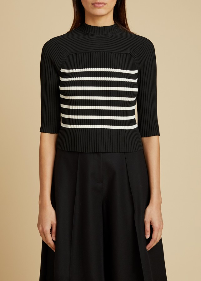 KHAITE The Quincy Top in Black and Ivory Stripe