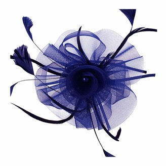 Meiz New Ladies Mesh Flower Fascinator With Feathers and Imitation Pearl Bead On Band (Royal Blue)