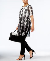 Alfani Plus Size Sheer Printed Tunic, Created for Macy's