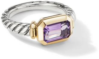 David Yurman Novella Sterling Silver & 18K Gold Amethyst Ring