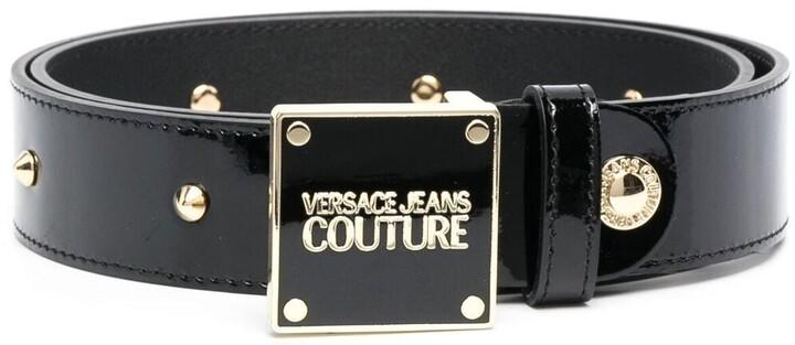 Versace Jeans Couture Versailles-print patent leather belt