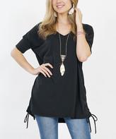 42pops 42POPS Women's Tunics BLACK - Black V-Neck Short-Sleeve Drawstring-Side Tunic - Women