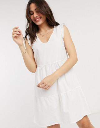 Stradivarius poplin v neck dress in white