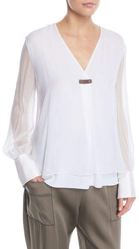 Brunello Cucinelli V-Neck Sheer Long-Sleeve Silk Chiffon Layered Blouse w/ Monili Tab