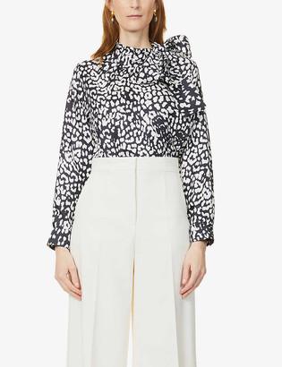 Max Mara Bussola leopard-print silk-twill top