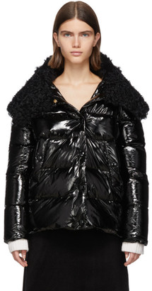 Yves Salomon Black Down and Wool Fur Jacket