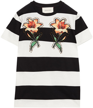 Gucci Studded Floral-appliqued Striped Cotton-jersey T-shirt