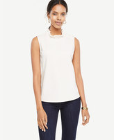 Ann Taylor Petite Pearlized Button Ruffle Neck Shell