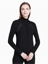 Calvin Klein Turtleneck Lace-Up Ribbed Sweater